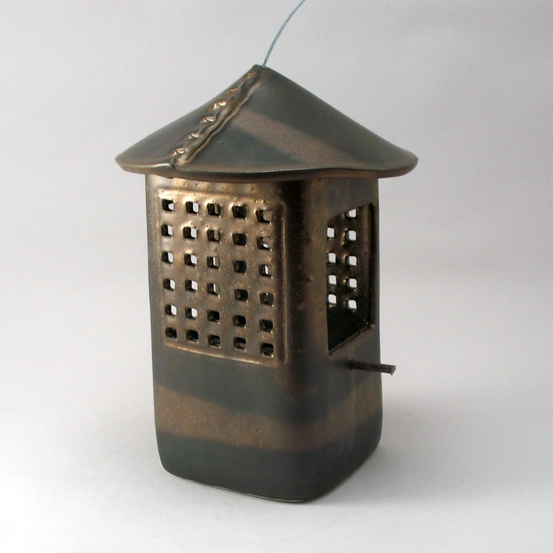 Bird Feeder-Ceramic Bird Feeder-Rustic Bird Feeder-Metallic image 0