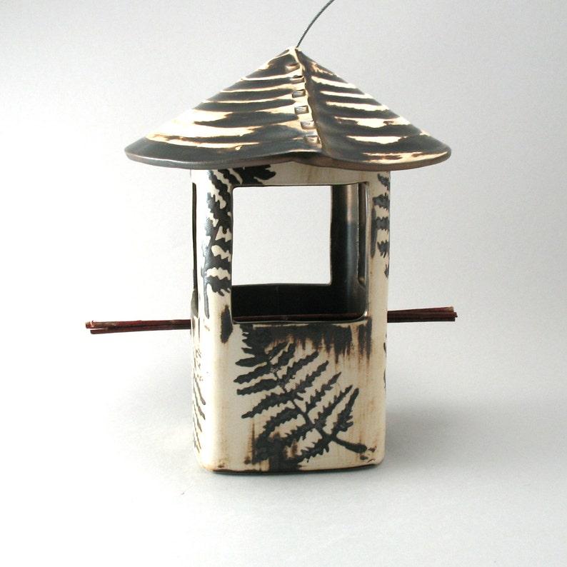 Stoneware Fern Leaf Bird Feeder-Handmade Pottery-Fern image 0