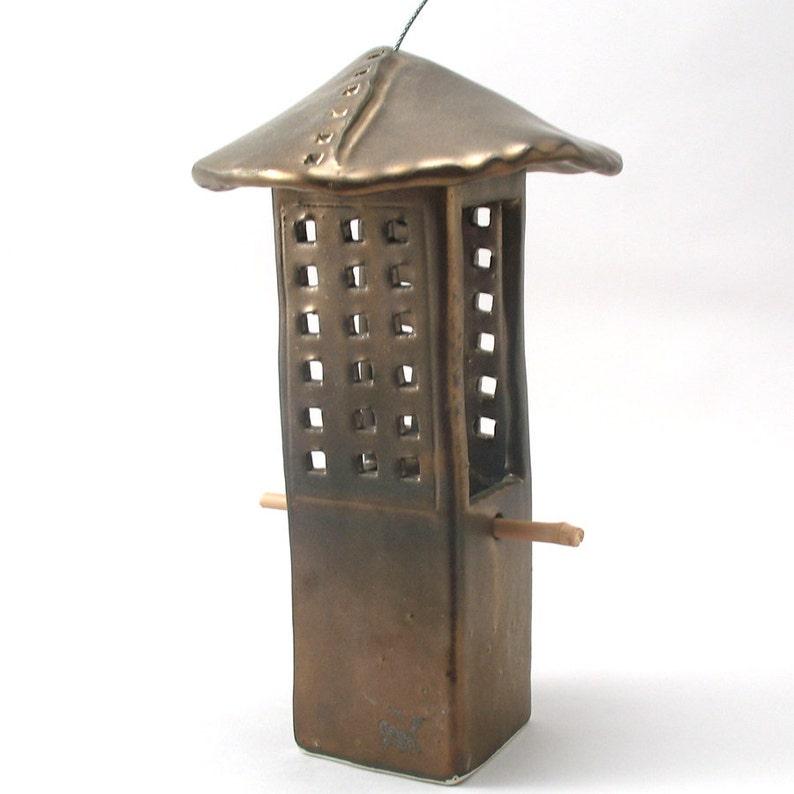 Bird Feeder-Ceramic Bird Feeder-Metallic Bronze Glaze-Pottery image 0