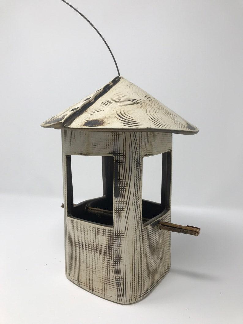Stoneware Bird Feeder Ceramic Bird Feeder Rustic Bird image 0
