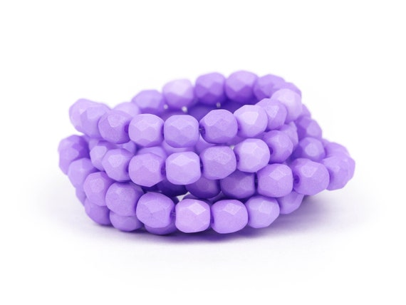 Fire-Polished Matte Opaque Round Spacers Saturated Lavender Faceted Czech Glass Beads 4mm x 50pc