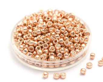 We're Back! Rose Gold Metallic Beads, PermaFinish TOHO Seed Beads, Round 3mm Glass Boho Beads, Japanese Glass Seed Beads, Size 8 x 10g