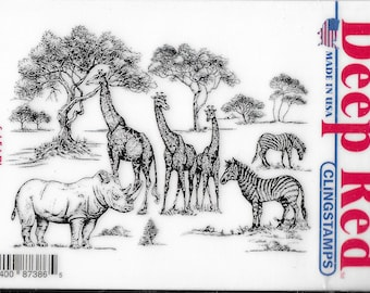Deep Red Cling Stamps --    Safari  -- NEW -- (#3880)