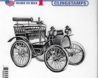 Deep Red Cling Stamps --  Early Motorcar -- NEW -- (#3456)