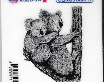 Deep Red Cling Stamps --    Koala with Baby    -- NEW -- (#3835)