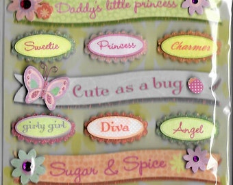 K & Company Grand Adhesions -- Sparkly Sweet Words  -- NEW --  dimensional stickers  (#1561)