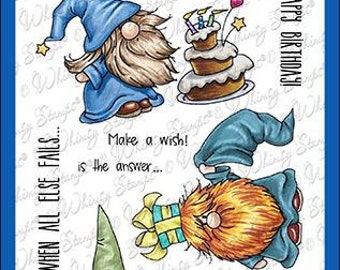 Whimsy Stamps --  Gnome Birthdays    -- NEW -- (#4017)