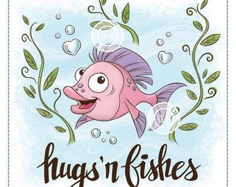 Whimsy Stamps --   Hugs 'n Fishes   -- NEW -- (#3758)