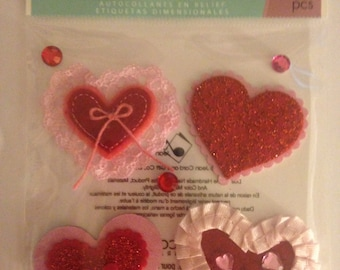 Jolee's Boutique --  Hearts and Lace --  self adhesive dimensional stickers -- NEW  --  (#954)