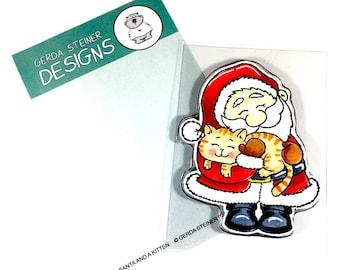 Gerda Steiner Designs --  Santa and A Kitten  -- NEW -- (#3358)