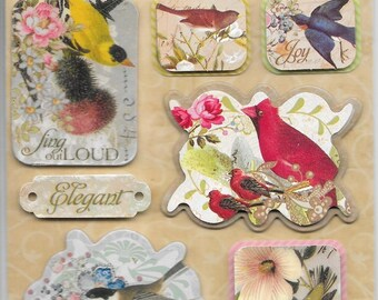 K & Company LLO  -- Bird Medley --  NEW --  dimensional stickers  (#2233)