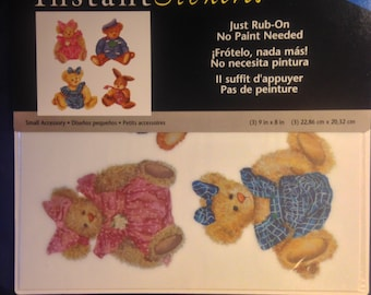 Imperial Brand  --  Bears and Bunnies  --  Rub On's  -- NEW -- Self Adhesive Rub Ons  --    (#1062)