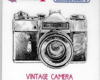 Deep Red Cling Stamps --   Vintage Camera     -- NEW -- (#3834)