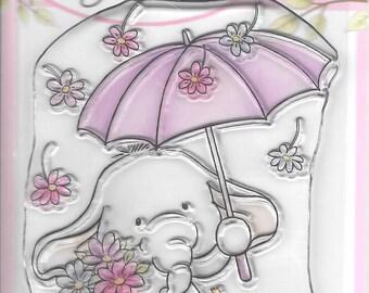 Wild Rose Studio Clear Stamp -- NEW -- Bella with Umbrella -- (#2658)