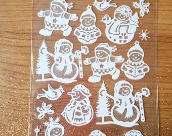 Gel-Soft Glitter Stickers #2 - NEW (#1945) -  Christmas Snowmen