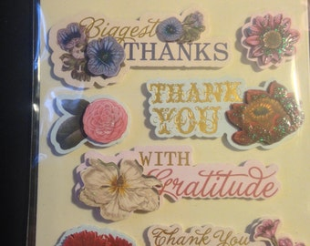 K & Company --  Thank You  -- 7 pieces -- self adhesive dimensional stickers -- NEW  --  (#1148)
