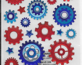 EKS - NEW - Primary Cogs - Steampunk - 3 D stickers - (#2237)