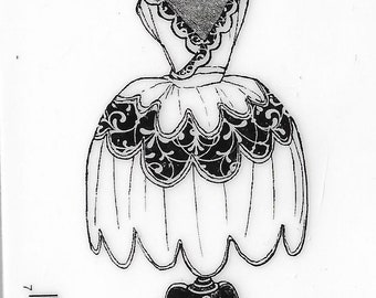 Deep Red Cling Stamps --   Dress Form Ball Gown   -- NEW -- (#3395)