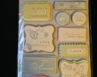 K & Company Grand Adhesions -- Wedding Tags  --  NEW --  dimensional stickers  (#1631)