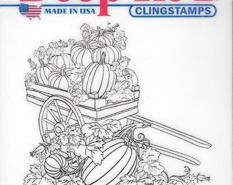 Deep Red Cling Stamps --  Pumpkin Harvest  -- NEW -- (#2488)