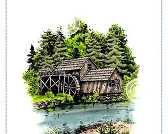 Whimsy Stamps --   Water Mill -- NEW -- (#3639)