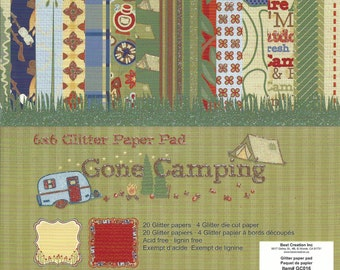 6 x 6 Glitter Paper Pad  ~~ Gone Camping  ~~   Double sided paper  ~~  NEW  (#585)