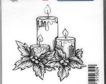 Deep Red Cling Stamps --  Holiday Candles -- NEW -- (#2815)