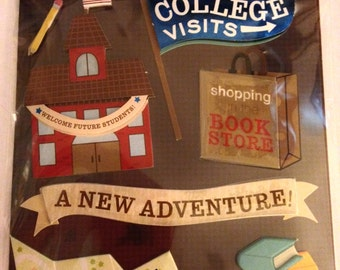 K & Company LLO  -- College Visits --  NEW --  dimensional stickers  (#1835)