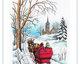 Whimsy Stamps --  Sleigh Ride  -- NEW  -- (#2896)