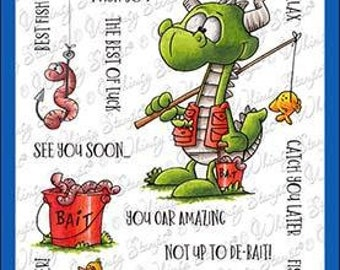 Whimsy Stamps --   Fishing Dragons   -- NEW  -- (#3611)