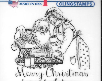 Deep Red Cling Stamps --  Claus Family Christmas -- NEW -- (#2921)