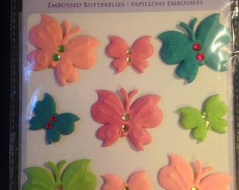 Forever In Time Brand --  Handmade Paper Embossed Butterflies  --  Dimensional Butterflies  -- NEW --  (#1019)