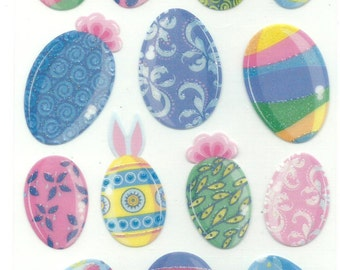 EK Success  -- Multicolor Easter Eggs  --  18 pieces -- self adhesive stickers  --   NEW  --  (#1210)