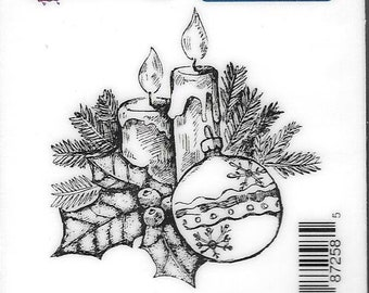 Deep Red Cling Stamps --  Holly Candles   -- NEW -- (#2923)