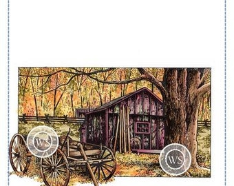 Whimsy Stamps --   Country Shed -- NEW -- (#3629)