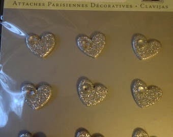 K & Company --  Silver Heart Brads -- 9 pieces -- Brads -- appr. 5/8 inch wide -- NEW  (#1159)