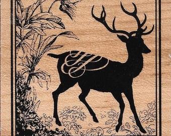 Deer Stamp  --  NEW  --  Inkadinkado Brand --  (#1915) Buck, Deer, Fall, Winter,