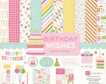 12 x 12 Collection Kit ~    Birthday Wishes Girl    ~      NEW  (#4241)