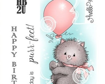 Whimsy Stamps -- Kitty Balloon- NEW -- (#2131) Crissy Armstrong Collection