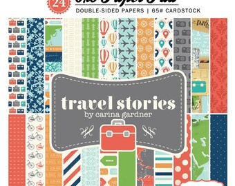 6 x 6 Paper Pad ~ Travel Stories ~ Double sided  NEW  (#2561)