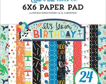6 x 6 Paper Pad ~ It's Your Birthday Boy ~ Double sided  NEW  (#4130)