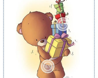 Whimsy Stamps --  Teddy Birthday Presents -- NEW -- (#2582)