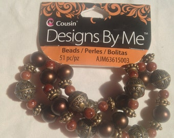 Cousin Brand  --  Designs by Me  --  51 piece Coffee Color Beads   --   NEW  --   (#1345)