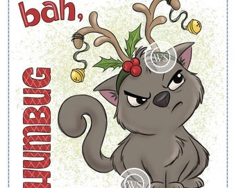 Whimsy Stamps -- Reindeer Kitty -- NEW -- (#2553)
