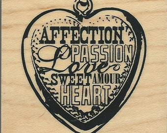 Sentiment Heart Stamp  --  NEW  -- Wood Mounted Rubber Stamp --  Inkadinkado Brand --  Valentines Stamp (#970)
