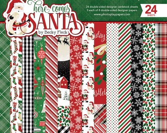 6 x 6 Paper Pad ~ Here Comes Santa ~ Double sided  NEW  (#2782)