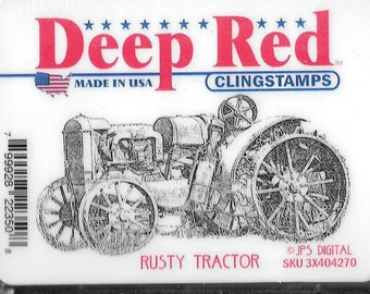 Deep Red Cling Stamps --  Rusty Tractor -- NEW -- (#2906)
