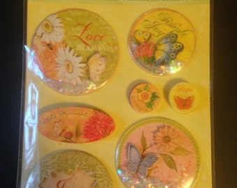 K & Company -- Snow Globe Stickers  --  NEW  --   8 pieces  --  dimensional stickers  (#1154)