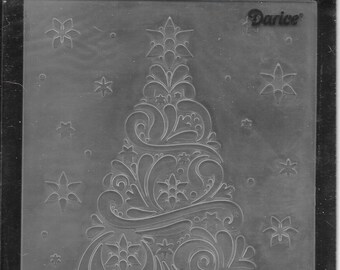 Darice Embossing Folder -- New -- Geo Christmas Tree -- (#3052)