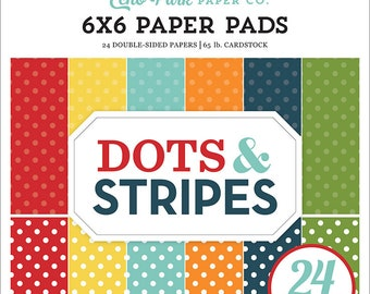 6 x 6 Paper Pad ~ Summer Dots & Stripes ~ Double sided  NEW  (#4131)
